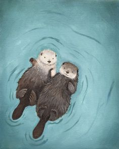 Otters Holding Hands Cute Otter Art print, Otterly Romantic. $20.00, via Etsy.