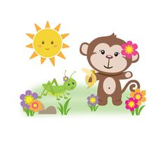 GIRL MONKEY DECAL Wall Art Safari Animal Nursery Mural Stickers Baby Jungle Room Decor Childrens Kids Pink Floral Bedroom Shower Decorations