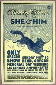 band of horses  music gig posters | BAND OF HORSES / SHE & HIM Concert Poster