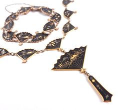 Vintage Damascene Necklace & Bracelet Asian Jewelry Set - Silver and Gold Inlay Jewelry / Japanese Fans