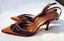 Valerie Stevens Slingback Heels Tulle Bronze Mesh Bow Pointy Toed 8.5 M