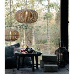Rund Bambuslampeskærm - natur 38cm