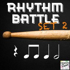 Rhythm Battle Set 2: projectable rhythm flash cards. Organized Chaos. Great way to review rhythm notation reading! Includes rhythms up to and including eighth, quarter, and half notes, and quarter rests. Large notes for easy reading. No more squinting at flash cards! One 4-beat rhythm pattern on each slide. Game directions included. Great for Music In Our Schools Month (MIOSM), end of the school year review, or any time!