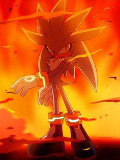 An awesome picture of Silver the Hedgehog... In Crisis City (one of my favourite stages).
