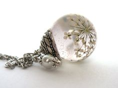 Beautiful Queen Anne's Lace Resin Pendant Necklace Sphere  - Flowers encased in resin orb, Pressed Flower Jewelry