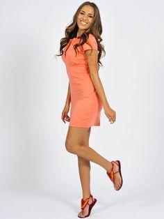 Spring Update: Diligo peach Orla mini dress | www.diligo.co.za Wrap Dress, Coral, Peach, Spring Summer, Mini, Fashion Design, Shopping, Collection, Dresses