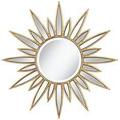 "Sun King Gold Foil Star 34"" Round Wall Mirror"