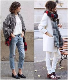 patterned scarf worn two-ways