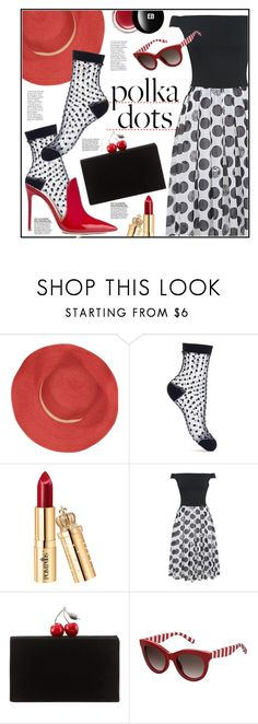 """Polka dots fun"" by anne-irene ❤ liked on Polyvore featuring Bleu Comme Gris, Miss Selfridge, WithChic, Edie Parker, Tommy Hilfiger, Edward Bess and PolkaDots"
