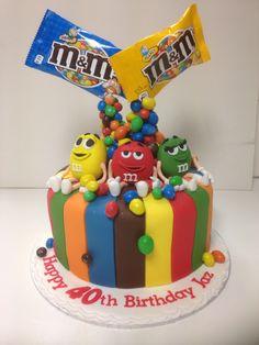 M & m anti-gravity cake