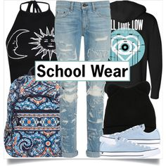 School Style by madeinmalaysia on Polyvore featuring Boohoo, rag & bone, Converse, Vera Bradley, George J. Love, women's clothing, women's fashion, women, female and woman