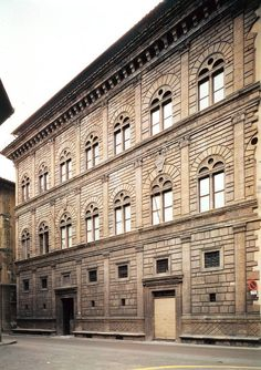 """Florence, Palazzo Rucellai. The story behind the wealth of this family is amazing: one of their ancestors discovered by chance a grass that turned purple when wetted by urine. Thus he invented a purple dye for fabrics and the name of the field """"orti oricellari"""" (garden of urine grass), gave the name to the family Rucellai."""