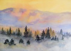 Low lying fog - a watercolour landscape by ArtTutor member Gill Farquharson | ArtTutor
