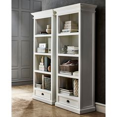 Enjoy stylish storage with the Nova Solo Halifax Decorative Bookcase with Drawer - White . This bookcase provides versatility for your storage needs,. Bookcase With Drawers, Bookshelves, Bookcase White, Open Bookcase, Bookcase Redo, Baby Bookshelf, Painting Bookcase, Basement Remodeling, Storage Spaces