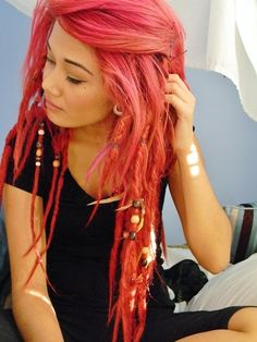 pink hair, locks