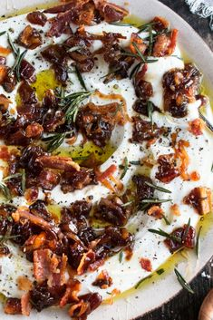 Whipped Goat Cheese with Bacon & Dates - The Original Dish Cheese Appetizers, Appetizer Dips, Yummy Appetizers, Appetizers For Party, Appetizer Recipes, Italian Appetizers, Party Dips, Bacon Dates, Bacon Wrapped Dates