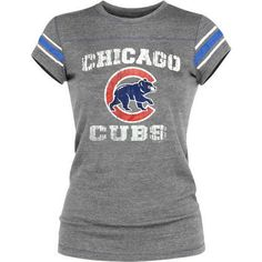 Chicago Cubs Tri-Blend Crew Sleeve Stripe T-Shirt by 5th & Ocean