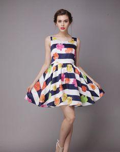 Floral Crewneck Sleeveless A Line Flare Mini Dress, As Shown, Irina Miro | VIPme