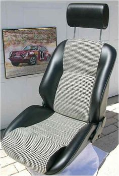 Our 'Monte Carlo' seat in Houndstooth. Classic Car Seats by GTS Classics.