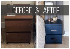 Ikea Nightstand Hack // Turn those old MALM nightstands into new fabulous beside furniture with just a couple simple steps!