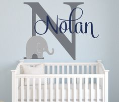 Elephant Name Wall Decal from Lovely Decals World