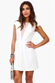 Cap Sleeve Mesh Dress - Ivory