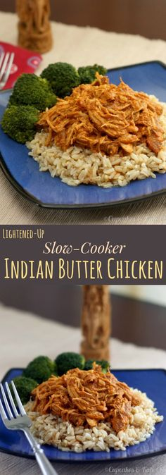 Lightened Up Slow Cooker Indian Butter Chicken recipe that is gluten free! An exotic recipe made easy and healthy in your crockpot or slow cooker.