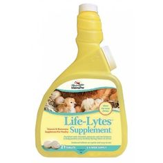 Life-Lytes Poultry Supplement - 21 Count by MANNA PRO-FARM. $8.55. UNITED STATES. 00-0214-9906 Features: -Poultry supplement. -Help poultry stay healthy during times of stress. -Comes with tablets and mixing bottle for easy and convenient dosing. -21 Count. -Made in United States. Ingredient: -Corn Starch, Magnesium Sulfate, Potassium Chloride, Salt, Sodium Bicarbonate, Vitamin A Supplement, Vitamin D3 Supplement, Vitamin E Supplement, Menadione Sodium Bisulfite Complex, A...