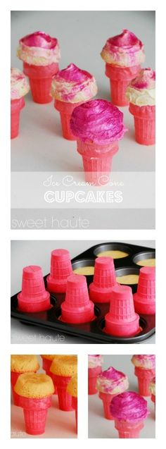 Tutorial on how to make your own DIY pink Ice Cream Cone Cupcakes for parties (pour batter in muffin pan then push cones in each slot gently) easy