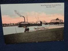 River scene from Wenonah Park. Bay City Michigan. Unused postally ...