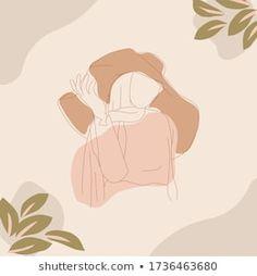 Muslim Woman Wearing Hat Hijab Summer Stock Vector (Royalty Free) 1736463680 Abstract Face Art, Islamic Cartoon, Hijab Cartoon, Cartoon Art Styles, Muslim Women, Girl Cartoon, Islamic Art, Cute Art, Art Girl