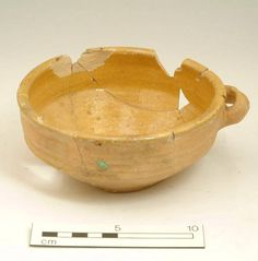 Accession number: NN13340 Production date: 1485-1714 Material: ceramic Measurements: H 63 mm; DM (rim) 149 mm Museum Section: Post-Medieval Summary: Delft bowl, yellow-glazed, one handle. Site excavated in 1973 by D.Brinklow, location TQ245759. Material from this site previously recorded as L111 and FP,etc.
