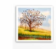 Trees & Bikes Watercolor Painting Print  by WatercolorByMuren, $30.00