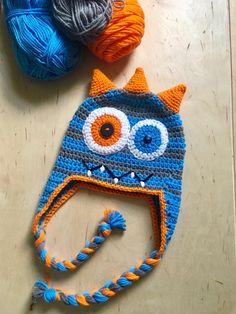 Crochet Monster Hat/ Monster Hat/ Baby Shower Gift/ First Birthday Hat / Baby Monster Birthday Hat : Crochet hat for kids , crochet monster hat, crochet monster, monster hat for baby, monster hat for b Crochet Kids Hats, Crochet For Boys, Crochet Beanie, Crochet Gifts, Crochet Yarn, Knitted Hats, Crochet Monster Hat, Crochet Monsters, First Birthday Hats