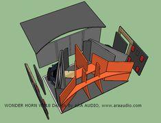 √ Skema Box WONDER Horn W218 Subwoofer Mantap - ARA AUDIO Diy Subwoofer, Subwoofer Box Design, Speaker Box Design, Horn Speakers, Diy Speakers, Woofer Speaker, Speaker Plans, Audio Design, Loudspeaker