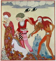 Love, Desire and Death Wall Art Prints by Georges Barbier