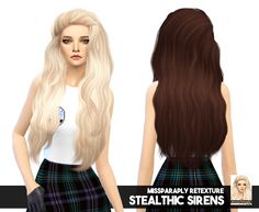 Sims 4 hairs miss paraply: stealthic`s sirens solid hair ret Sims 4 Teen, Sims Four, My Sims, Sims Cc, Teen Hairstyles, Hairstyles With Bangs, High Level, Free Sims 4, Mod Hair