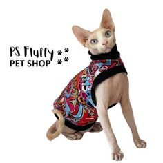 Excited to share this item from my #etsy shop: Sphynx cat clothes | Comfortable sleeveless tops #sphynxcatclothes #sleevelesstops #petclothes #petsupplies #sphynxclothes #catclothing #petclothing #sphynxclothing #graffiti Sphynx Cat Clothes, Pet Clothes, Cat Skin, 9 Month Olds, Sleeveless Tops, Etsy Handmade, Handmade Gifts, Pet Shop, One Pic
