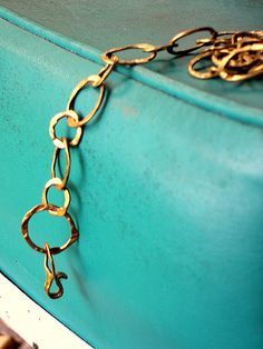 blue and gold House Of Turquoise, Shades Of Turquoise, Shades Of Blue, Aqua Color, Aqua Blue, Blue Green, Yellow, Teal And Gold, Brass Chain