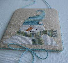 cross stitch snowman flat ornament finish