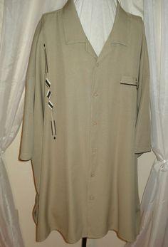 Retro Lounge Style Khaki Rayon Embroidered Loop Collar Rockabilly Mens Shirt 6X
