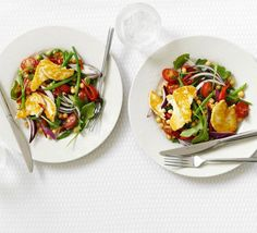 Warm halloumi, chickpea & lime salad - making this for tomorrow's lunch later! Lime Salad Recipes, Veggie Recipes, Vegetarian Recipes, Healthy Recipes, Chickpea Recipes, Healthy Lunches, Healthy Dishes, Shrimp Recipes, Healthy Options