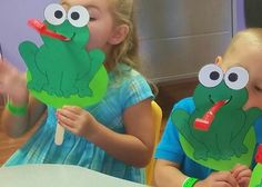 Frog craft for preschoolers.  I use this frog craft for the creation or the plagues Bible story.  Will pin patterns of frog and eyes separately since I cannot add a picture here.  Cut a lily pad from lighter green and glue it beforehand to craft stick so it will be sturdy right away for the kids.  Tongues are 8 for $1 at the dollar store, birthday blow favors.  Cut a hole at frog mouth just large enough to put tongue. #creation craft   #frog puppet