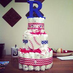 Baseball Theme diaper cake!