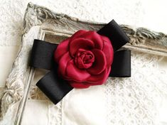 Camellia broach, Burgundy and black designer inspired bow brooch, Red Camelia broach, Womens bow tie Birthday Favors, Girl Birthday, Birthday Gifts, Deep Red Color, Burgundy Color, Dance Accessories, Hair Accessories, Women Bow Tie, Bow Tie Collar