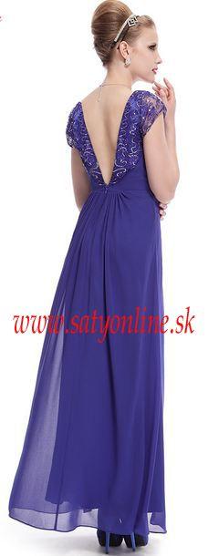 Modré spoločenské šaty s krajkovými rukavmi Style 9990 Ever Pretty