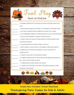 Thanksgiving Fowl Play Fact or Fiction Game Thanksgiving   Etsy