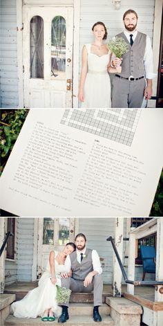 wedding crossword...so cute