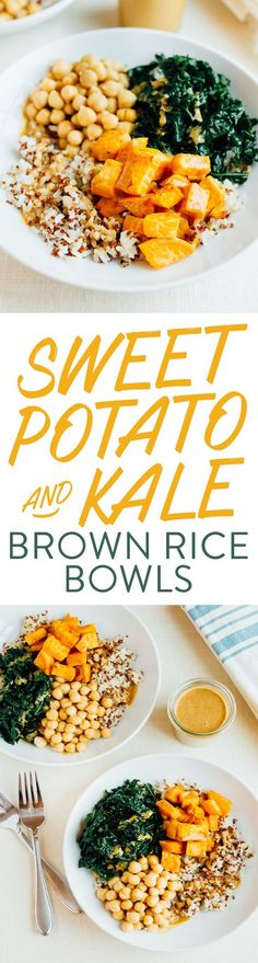 DELICIOUS sweet potato and kale brown rice bowls with a rich peanut sauce. 18 grams of protein + 20 grams of fiber per bowl.//replace rice w/ cauliflower rice Vegan Vegetarian, Vegetarian Recipes, Healthy Recipes, Protein Recipes, Healthy Options, Whole Food Recipes, Cooking Recipes, Clean Eating, Healthy Eating