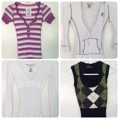 PREOWNED TOPS SIZE XS & SMALL -PREOWNED  -ALL BEEN WASHED -FABRIC DOES STRETCH & SLIM -SIZE: XSMALL & SMALL (PLEASE LOOK AT PIC) -THE GREEN VEST HAS A SMALL HOLE ON ONE OF THE SHOULDER (NOT NOTICEABLE WHEN WEAR)       ⭐RATED SELLER  FAST SHIPPER NEXT DAY SHIPPING  ❌NO TRADE ❌NO PAYPAL ✅BUNDLE OFFER Tops Tees - Long Sleeve